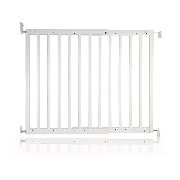 Safetots Chunky Wooden Screw Fit Stair Gate, White, 63.5 to 105.5 cm Safetots One handed operation Made up of two panels which are self expandable Fits a standard width: 63.5cm - 105.5cm 5