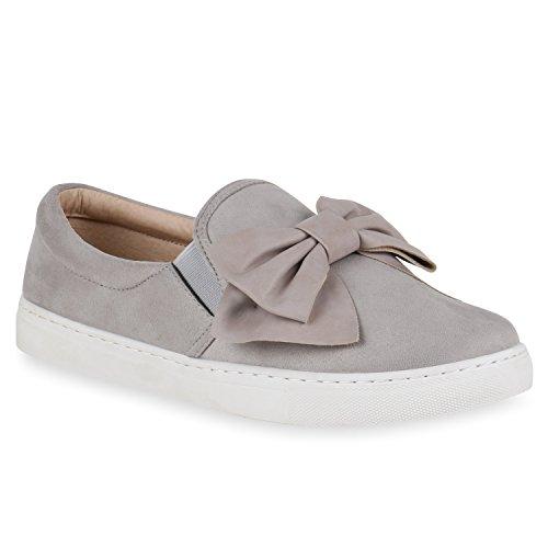 Damen Slipper Sneakers Slip-ons Lederoptik Schuhe Schleifen Grau