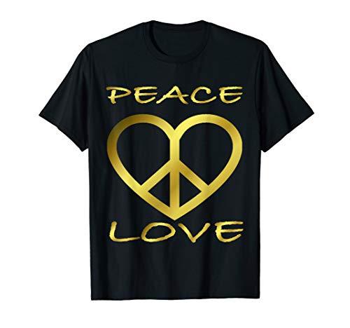 Peace Love Flower I 60er 70er Jahre Hippie-Kostüm T-Shirt (Jahren 60er In Hippies Black Den)