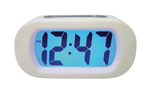 Quartz-Wecker Digital Weiss, Dieser LCD Quarz-Wecker hat ein weißes unzerbrechliches Gummigehäuse. (973977007476) (Unzerbrechliche Wecker)