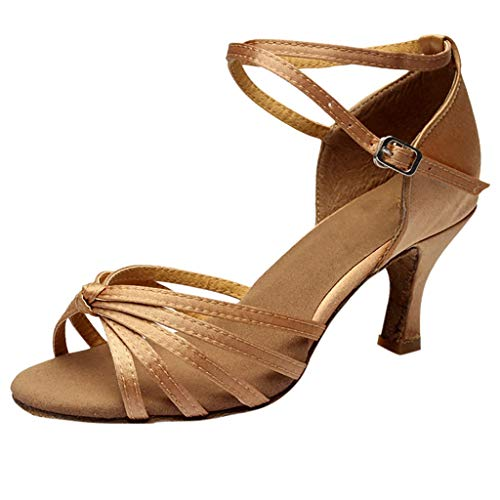 Qmber Damen Pumps Stiletto Klub Modisch Verschluss durch Schnalle Plateau Sandalen Elegante High Heels lateinamerikanische Tanzschuhe hochhackiger Tanz/Brown,39 - Diamant-spitze-socken