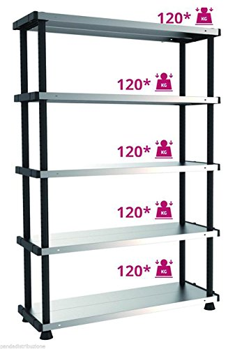 Scaffale / Scaffalature Kit Terry MPSHELF120RC 5 piani cm. 119 x 45 x 185