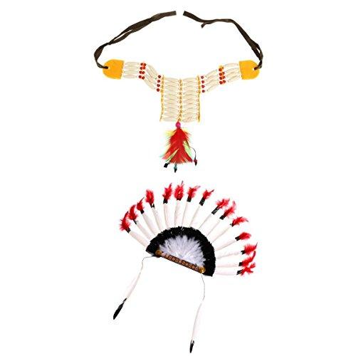 MagiDeal Set Accessoire Costume Chef Indien Chapeau Coiffe à Plume+ Collier Plastron Perles