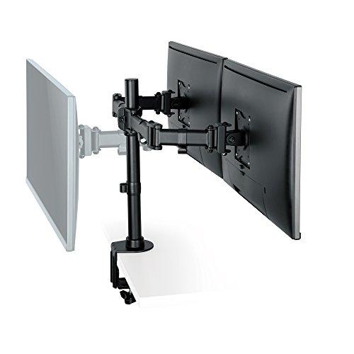 """SAVONGA 2-FACH MONITOR HALTERUNG Dual DISPLAY STÄNDER Tischhalterung für zwei Monitore 13""""-27"""" Zoll VESA 75 x 75 100 x 100 mit Schwenkarme drehbar schwenkbar neigbar ROTIERBAR #205L"""