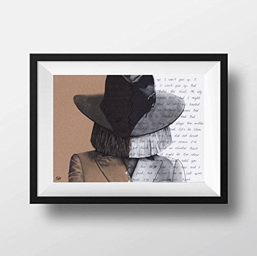 Sia Portrait Drawing with Elastic Heart lyrics - signed Giclée art print Kunstdruck A5 A4 A3 size artwork