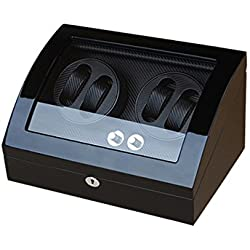 Watch winder Lindberg&Sons Black for 4 self-winding watches and capacity for 6 additional watches UB8078b
