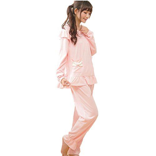 DMMSS Peignoir Ladies Spring / Summer Cotton Pyjamas Manches Longues 2-Piece Douce Lapel Pyjamas Set Pink