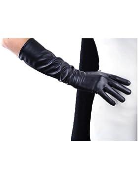 DIDIDD Guantes largos con pantalla táctil Pu de piel imitación 50 40Cm Forro de seda negro Seiko,Black40,Grande