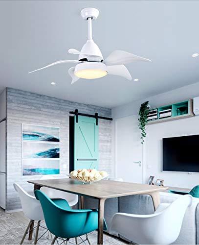 YRE LWDMLSH LED Lüfter Beleuchtung, Gebläse Kronleuchter Nordic Restaurant Kronleuchter, Fein Kupfer Motor, fünf Blatt Mute Weiß/Blau (Farbe: weiß) -