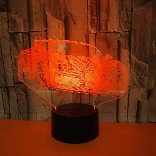 C810 Usb (3D Illusion Lampe Automobil LED Nachtlicht, USB-Stromversorgung 7 Farben Blinken Berührungsschalter Schlafzimmer Schreibtischlampe für Kinder Weihnachts geschenk)