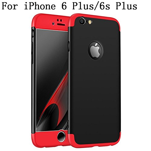 iPhone 6s Plus Case, Heyqie 360 Degree Full Protection 3 in 1 Ultra Slim Anti-Scratch Shockproof Smoothly Protective Hard PC Cover Case For Apple iPhone 6 plus / 6s Plus 5.5, Black Black shell + Red frame