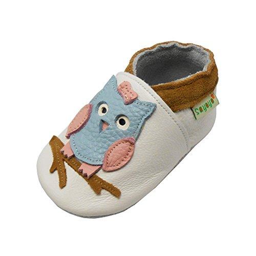 Sayoyo Baby Eule Lauflernschuhe Leder Weiche Sohle Baby Mädchen Baby Jungen Kugelsicherer Krippe Enfants Schuhe (6-12 Monat, Weiß)