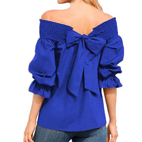 MRULIC Damen Schulterfrei 3/4 Ärmel Tops und Blusen Women Tauchhülse Bogen Verbandbluse Retro Elegant Shirt(Blau,EU-46/CN-3XL) -