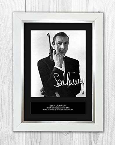 Star Prints UK Signiertes Autogramm von Sean Connery 007, James Bond 3 MT Weißer Rahmen