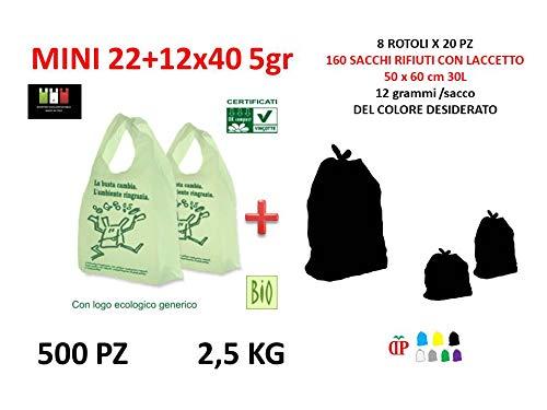 500 Sacchetti Shopper biodegradabili compostabili Mini 22+12x40 cm +160 Sacchi PATTUME 50x60 cm 30L in POLIETILENE (8 Rotoli x 20 PZ) del Colore A Scelta