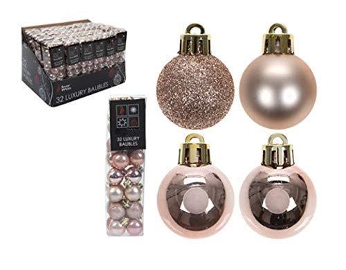 Confezione da 32 - 3.5cm rose gold baubles albero di natale - matita lucida e glitter design - decorazioni natalizie