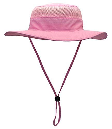 Al aire libre pesca sombrero versátil UPF playa Ronda Brim Sombrero con correa de barbilla, mujer hombre, color rosa, tamaño talla única