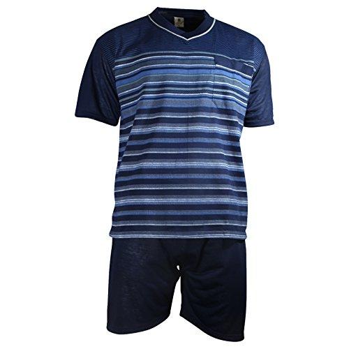 Herren Schlafanzug kurz Shorty T-Shirt bedruckt Hose uni 2 Typen in 6 Farben - Qualität von Lavazio®, Größe:L, Farbe:Typ2 dunkelblau