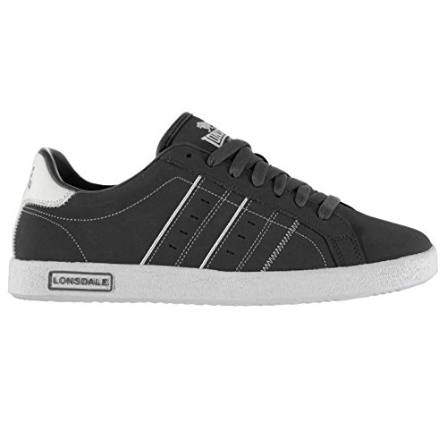 Lonsdale Herren Oval Turnschuhe Sport Schuhe Freizeit Sneakers Schnuerschuhe Grau/Weiß 10 (44) (Grau Hi Sneakers Herren Weiß)