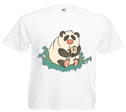 Motiv Fun T-Shirt Panda Bär mit Kind Cartoon Comic Zeichentrick Motiv Nr. 11636 Weiß