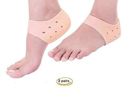 Shrasha Silicone Gel Pad Socks for Heel Swelling Pain Relief, Dry and Cracked Heels Ankle Support Cushion (Free Size, Beige) - Set of 1 Pair