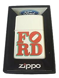 Zippo Custom Lighter - Ford Motors Car Red Green Name Logo White Matte