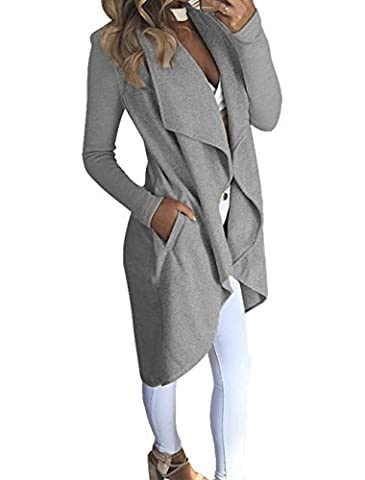 LANOMI Womens Waterfall Open Cardigan Knitted Sweater Cape Draped Blazer Long Jumper Overcoat Ladies Knitwear Top Coat with Pockets Size 6 8 10 12 14 16 (Size M / UK 10-12,