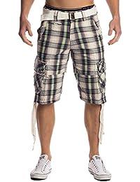 Max Men Herren Cargo Shorts (Straight Fit) 3 4 Bermuda Sommer Karierte  Cargo Short Freizeit Outdoor Hose Capri… f522c27dfb