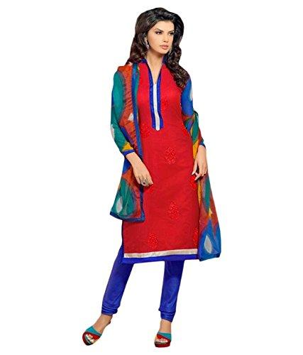Tangerines Tfw Red Color Unstitched Salwar Kameez Dress Material