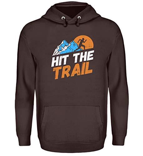 Shirt-o-Topia DE Hit The Trail Trailrunning Berglauf Geschenk für Extrem Läufer - Unisex Kapuzenpullover Hoodie -XXL-Schokolade - Extreme Xxl Schokolade