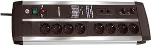 Brennenstuhl Premium Protect Line Barre multiprise x 8 avec prise RJ45 intégrée 3,0 m Noir/gris (Import Allemagne)
