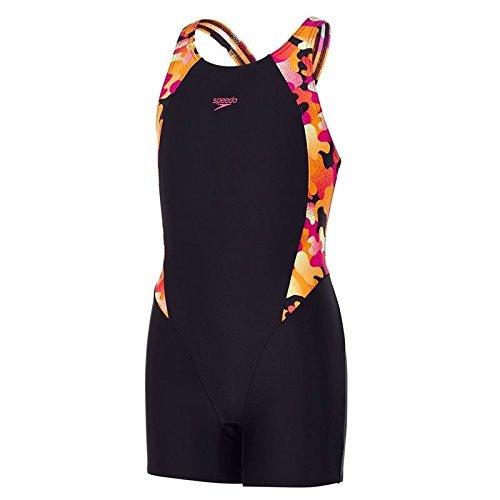Speedo Mädchen Comet Pop Printed Legsuit Swimwear, Schwarz/Orange, 24