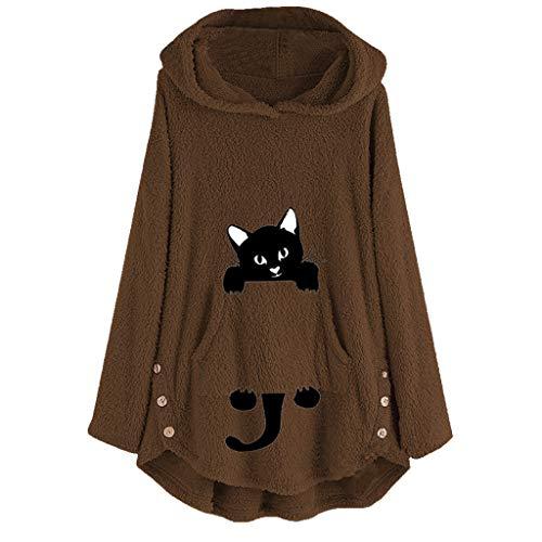 GOKOMO Womens Katze Stickerei Plus Size Warm Hoodie Top Pullover Sweatshirt Bluse(Braun,Large) -