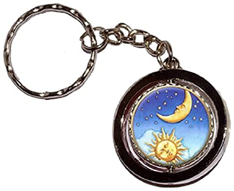 Celestial Sun Moon Stars Round Spinning Keychain by Graphics and More