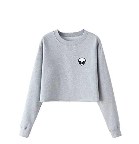 YouPue Damen Alien Druck Casual Cropped Pullover Crew Neck Sweatshirt Grau Asien S