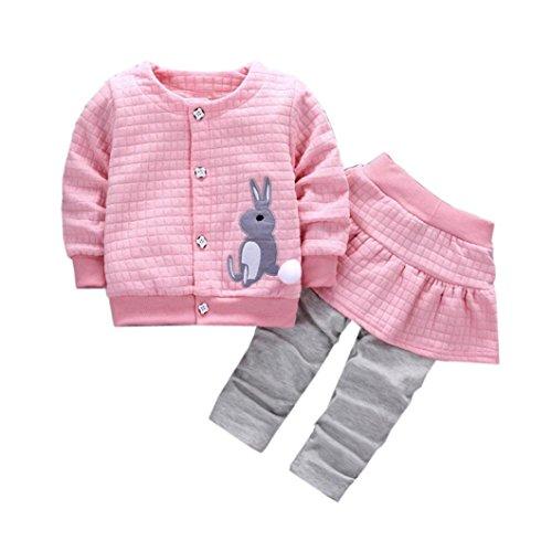 Bekleidung Longra Baby Kleinkind Mädchen winterjacke Kinderjacken Kaninchen Druck Warm Winter Coat Mantel Jacke + Hosen warme Kleidung(0-24Monate) (80CM 12Monate, Pink) (Wolle Strickjacke Lace)