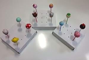 Moule à Cake Pops Décoration-Boîte Présentoir/Support 2 trous en carton Blanc-Lot de 12 accessoires pour Cake pops et les décorer micro Amazing Support pour Cake Pop, Instructions.
