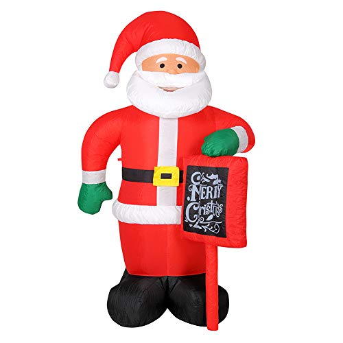 Bakaji babbo natale gonfiabile con cartello autogonfiabile grande altezza 175 cm con illuminazione a led e kit fissaggio per esterno protezione ip44 addobbo e decorazione natalizia