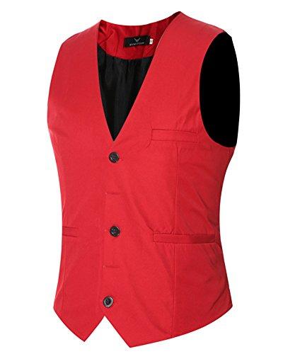 Uomo Leisure Panciotto Gilet Slim Fit Plain Elegante Senza Maniche Giacca Rosso