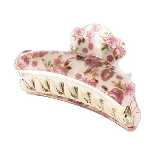 Haar-kralle - TOOGOO(R) Violett Blumen-muster Plastik Haarklemme fuer Damen