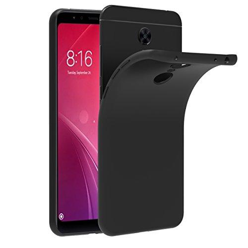 Ivoler cover compatibile con xiaomi redmi 5 plus, silicone case molle di tpu nero sottile custodia