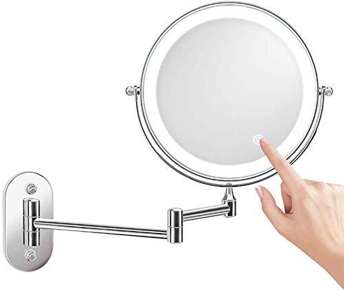Gaodpz Soporte de Pared LED con luz Espejo de Maquillaje, con un Aumento de 10x Bilateral de tocador...