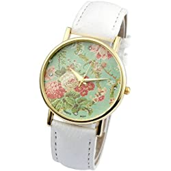 JS Direct 1x Womens Ladys Quartz Wrist Watches with PU Leather Strap,Rose Floral Printed Pattern,Simply Style, White Band