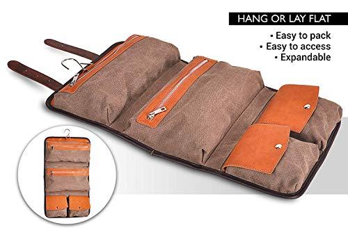 Vetelli Men's Hanging Wash / Toiletry Bag - Brown