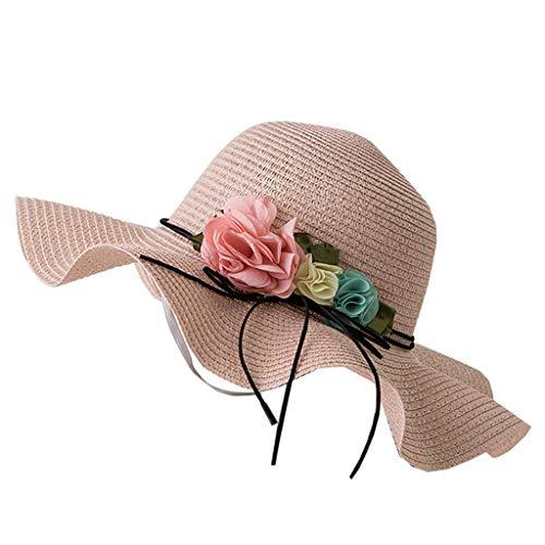 Damen Faltbarer Sonnenhut Strohhut Elegant Sonnenschutz Hut Sweet Summer Flowers Dekorative Spitze Hat Sonnen Shade mit Visor (Hüte Spitze Dekorative)
