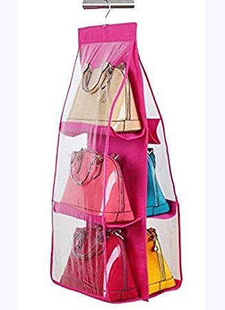 Divinext 6 Pocket Large Clear Purse Handbag Hanging Storage Bag Organizer Closet,Wardrobe Rack Hangers Holder