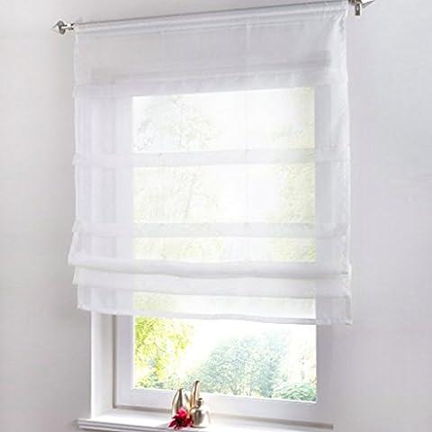 Yujiao Mao 1Pcs Tab Top Roman Blinds Ready Made Kitchen Curtain Valance Short Curtains Semi Sheer Window Curtain