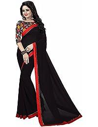 Jhilmil Fashion Georgette Black Saree With Blouse Piece