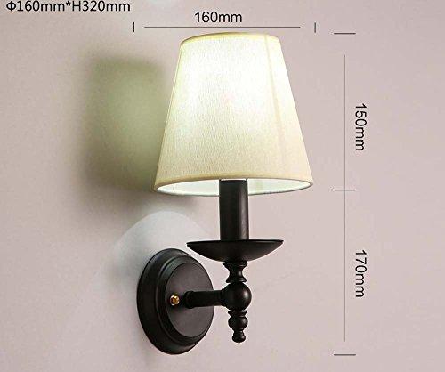LIYAN minimalistische Wandleuchte Wandleuchte E26/E5023Idyllische retro dekorative Wand Streuscheibe Schlafzimmer Gewebe Nachttischlampe Spiegel vordere Scheinwerfer, W 2104-1 weißes Licht