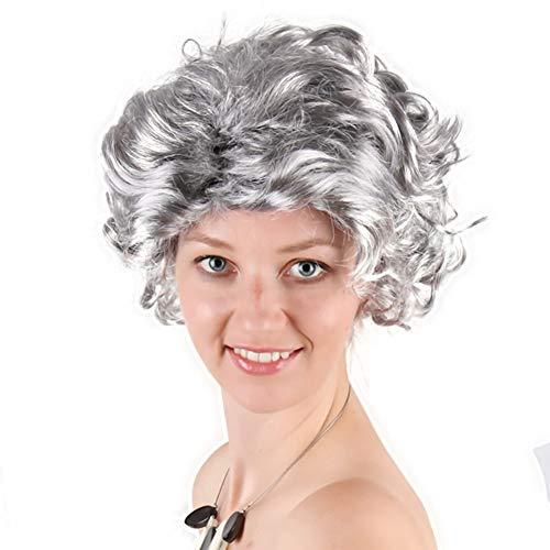 (FMTMY Perücken Mutter Wig Silber Grau Kurze Lockigen Haar Wig Mitte und Alte Weibliche Schöne Frisuren Cosplay, Festival, Rock Musik Festival, Shopping, Halloween, Kostüm Party, Karneval & Daily)